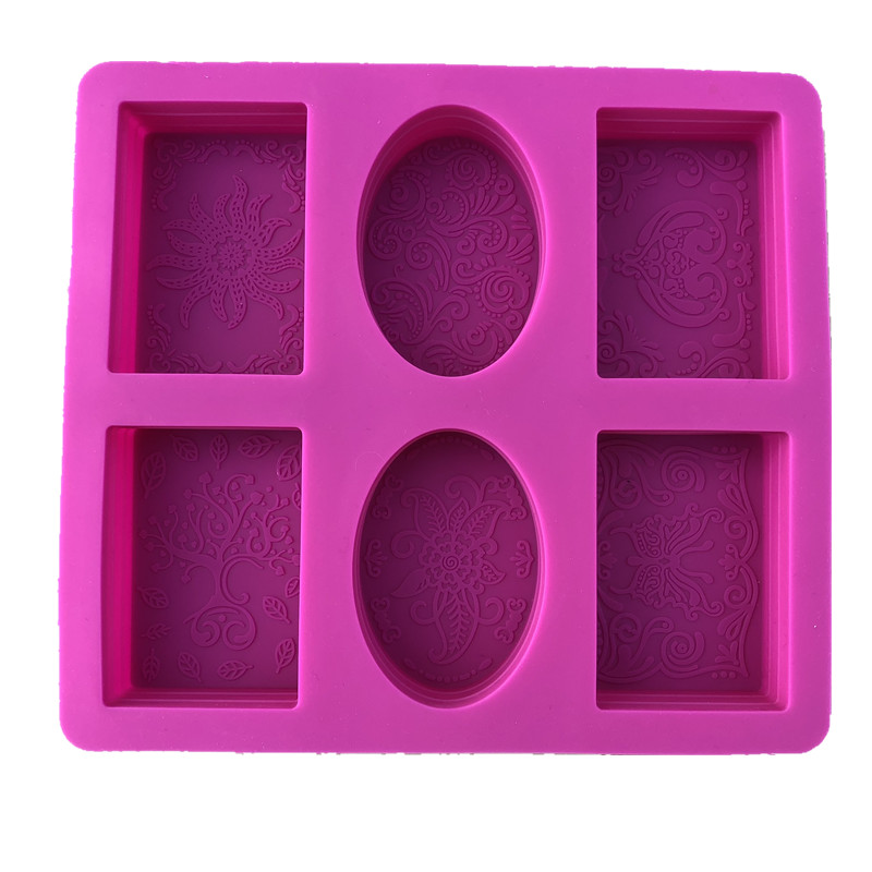 Ellipse Silicone Soap Molds Set Of 2 For 12 Cavities Mixed Patterns Making Suppl