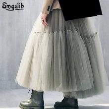 2019 Fashion Tide New Spring Autumn skirt elegant High Waist green split joint big mesh hemline ball gown Half-body Skirts