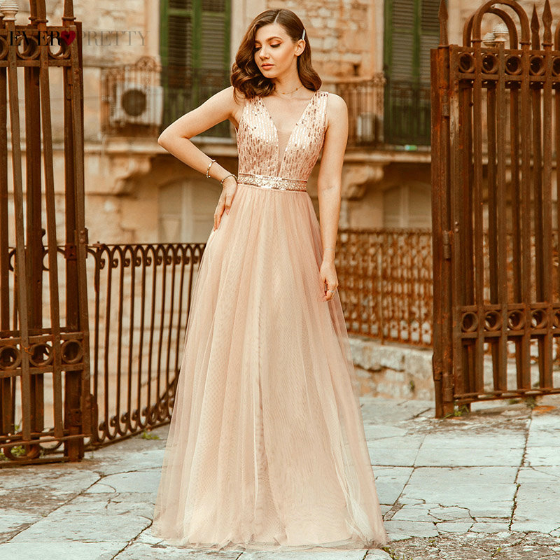 Sexy Rose Gold Evening Dresses Ever Pretty Sequined A-Line Deep V-Neck Sleeveless Tulle Elegant Ladies Formal Dresses For Party