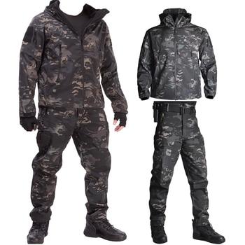 Army Waterproof Airsoft Hunting Clothes SoftShell Hunting Jacket Sets Tactical Jackets Pants Suit Shark Skin Military Coat Pants printio hunting for shark