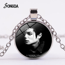 SONGDA Newest Michael Jackson Necklace Famous Star Dance King Art Photo Glass Round Pendant Chain Fans Classic Collect Souvenirs(China)