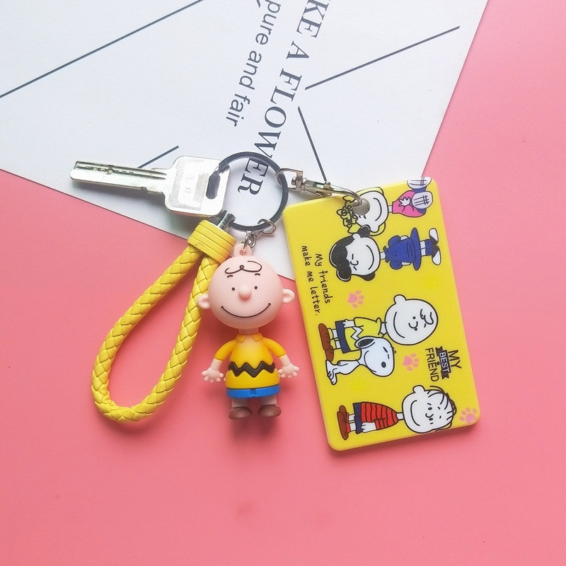 Charlie Brown Keychains Snoopy Girl Cartoon Bus Card Holder Student Cute Metro Rice Card Cover Car Keychain Bag Pendant Key Ring