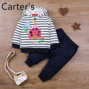 Carter's Baby Girl Clothes Set Children's clothing autumn/winter zipper shirt cartoon suit baby stripe print hoodie sweater 2pcs