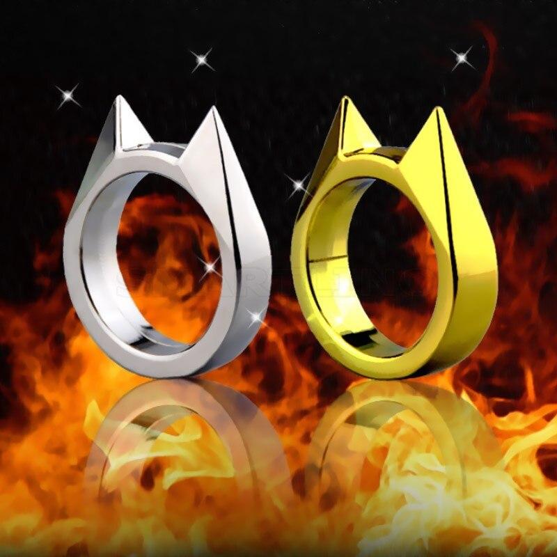 Trendy Cat Ear Defense Finger Ring Keychain Multifunction Women