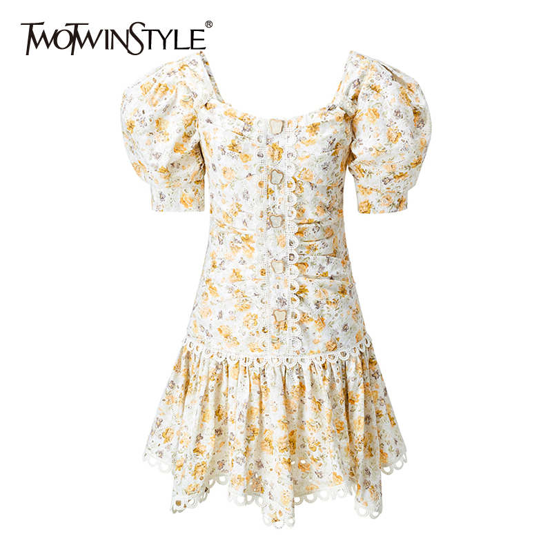 TWOTWINSTYLE Elegant Patcwhork Lace Dresses Female Square Collar Puff Sleeve High Waist Irregular Hem Hit Color Dress Women Tide