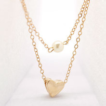 Simple Peach Heart Pearl Pendant Necklace Women Cute Fashion Layered Clavicle Choker Chain Jewelry