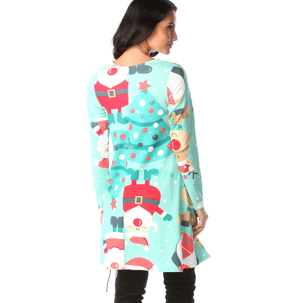 Print Long Sleeve Autumn Winter Christmas Dress Women 19 Casual Loose Short Party Dress Plus Size S-5XL Vestidos 33