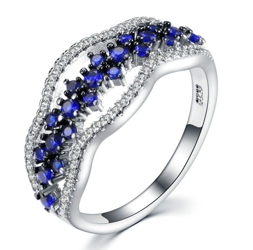 Luxury Dark Blue Stones Ring Simple Silver Color Female Love Wedding Ring Fashion Promise Engagement Rings For Women
