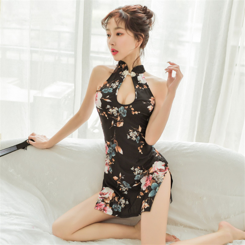 Sexy Woman Halter Cheongsam Chinese Style Erotic Lingerie Mini Qipao Babydoll Underwear Hollow Split Party Nightclub Dress