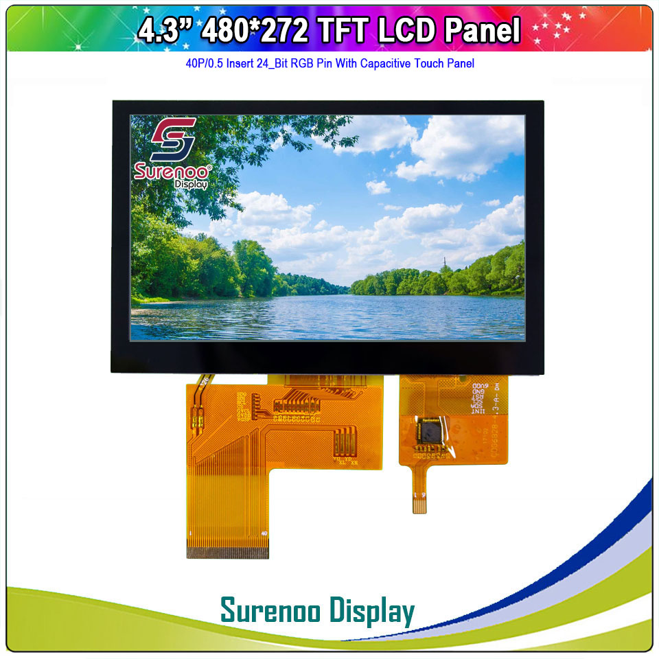 """4.3"""" 480X272 40P/24_Bit RGB TFT LCD Module Display Monitor Screen 4-Wire Resistive / IIC I2C Capacitive Touch Panel"""