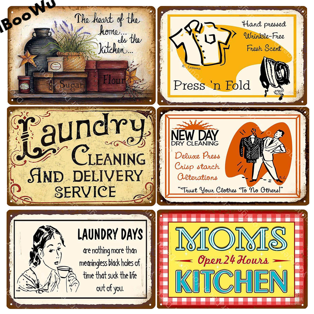 LAUNDRY SERVICE VINTAGE RETRO METAL TIN SIGN POSTER WALL PLAQUE