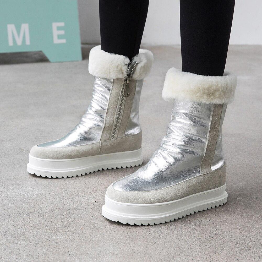 Grande taille 34 43 en cuir véritable femmes bottes d'hiver chaud en peluche fourrure bottes de neige femmes fermetures à glissière plate forme Botas Mujer chaussures de neige bottes