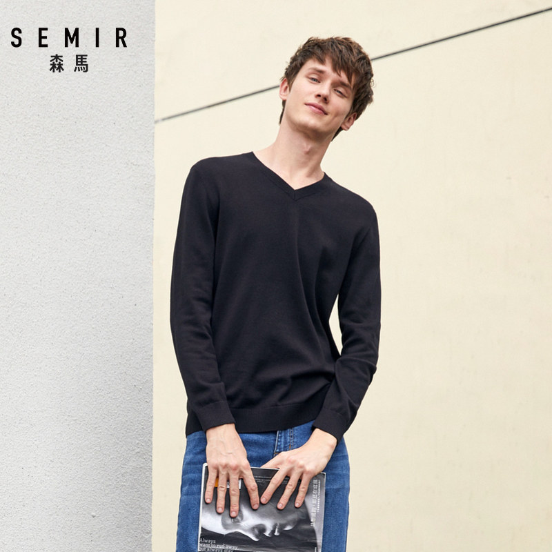 SEMIR Mens V-Neck Sweater 100% Soft Cotton Men Fine-Knit Sweater In Color Ribbing At Neckline Cuffs And Hem Fashion Spring