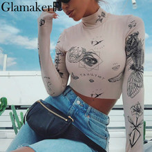Glamaker Fashion print standing collar blouse Women long sleeve streetwear crop top shirt Spring party club sexy bodycon top(China)