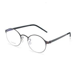 Image 2 - טהור בעבודת יד טיטניום משקפיים מסגרת גברים בציר עגול לא בורג Eyewear מרשם אופטי מותג משקפיים מסגרת נשים