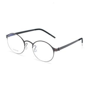 Image 2 - Pure Hand made Titanium Glasses Frame Men Vintage Round No Screw Eyewear Optical Prescription Brand Eyeglasses Frame Women
