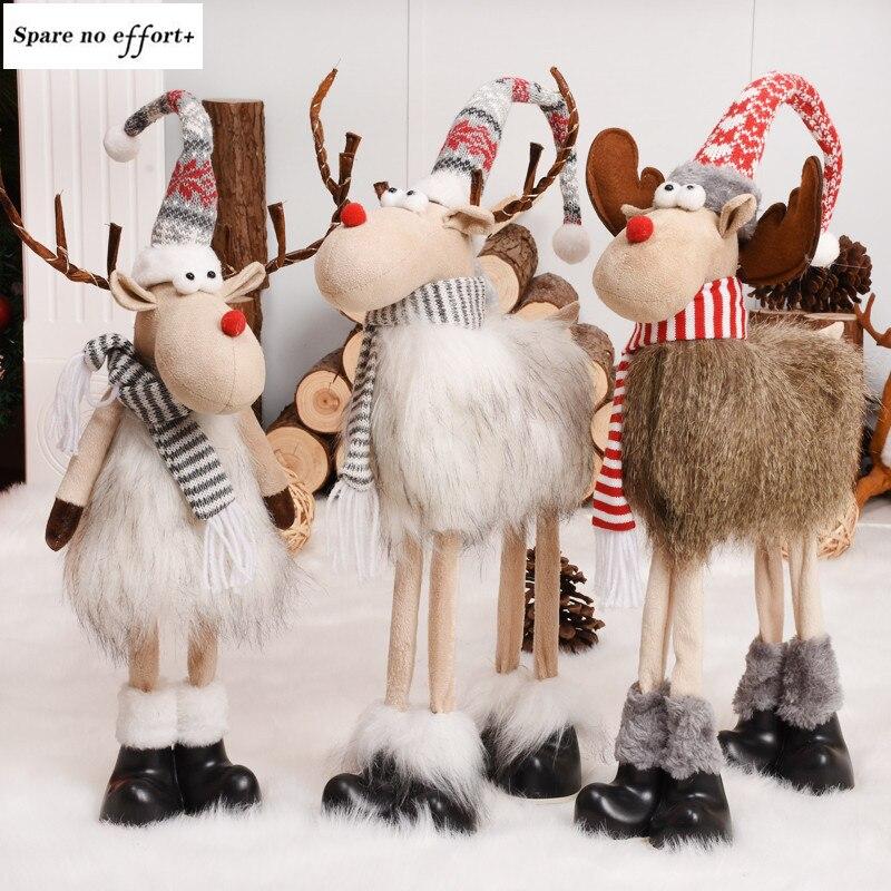 Adornos navideños de ciervo de Navidad de felpa para la casa sombrero largo gris de pie adornos de la víspera de Año Nuevo