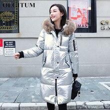 Зимняя Глянцевая длинная парка, женские зимние куртки, пальто серебряного цвета, тонкое плотное хлопковое пальто с меховым воротником, теплые парки Mujer