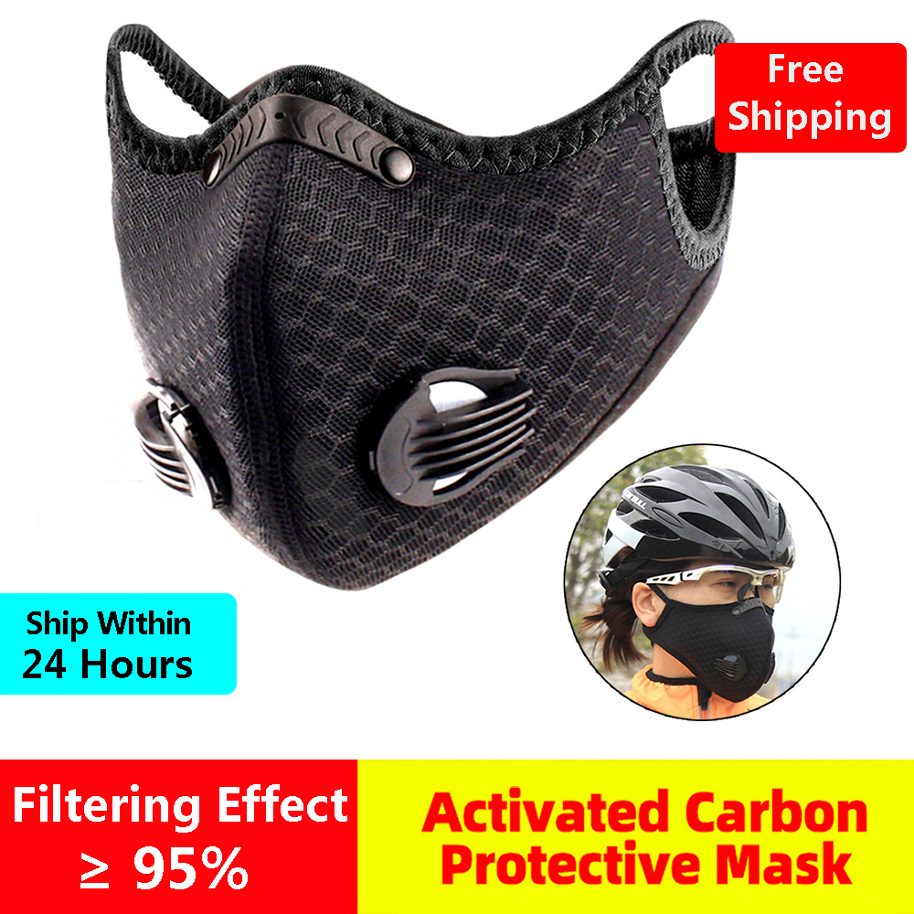 Cycling Face Mask Active Carbon Filter Protective Mask Anti-splash Dust Mask Breathing Valve Anti-Pollution Bike Face Masks
