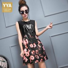 Top Brand New Women Genuine Leather Patchwork Floral Printed Sarafan Summer Dress Punk Bodycon A Line Party Sleeveless Dresses(China)