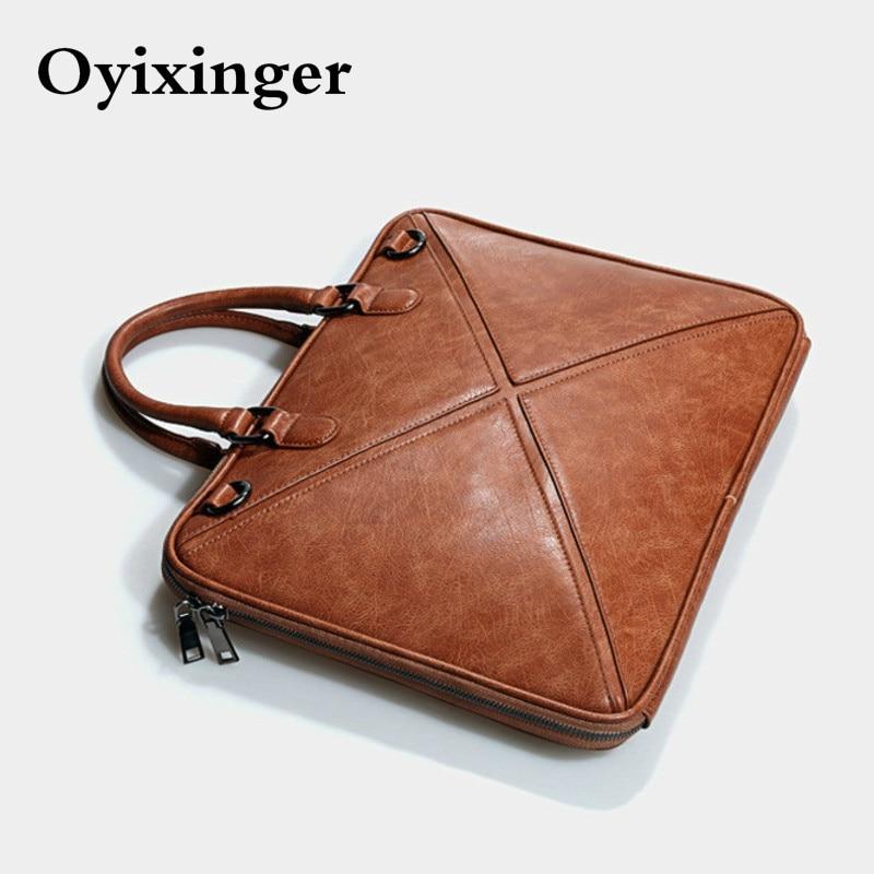 New Women's Briefcase 14 Inch Laptop Portable Handbag Shoulder Bag Female Business Genuine Leather Crossbody Bags Women Handbags
