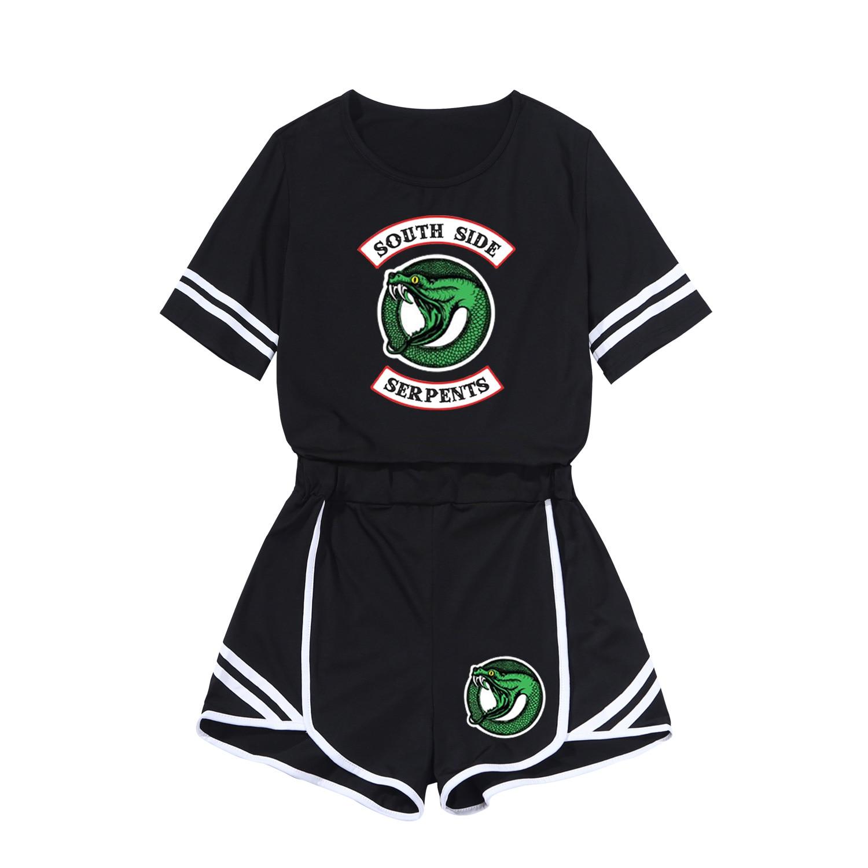 Short Sleeve American TV Series Riverdale Riverdale Women's Fashion Casual Navel T-shirt Shorts Set