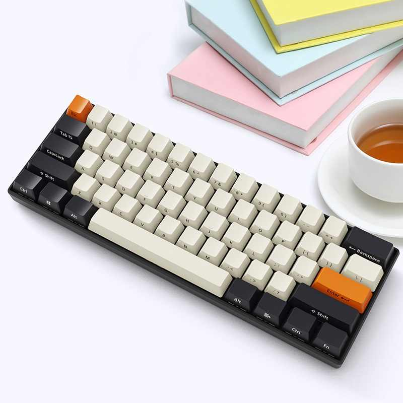 جديد Ajazz AK61 85% PBT Keycap بلوتوث اللاسلكية/السلكية المزدوج وضع الخلفية الميكانيكية لوحة مفاتيح لأي باد دفتر أسود أزرق محور