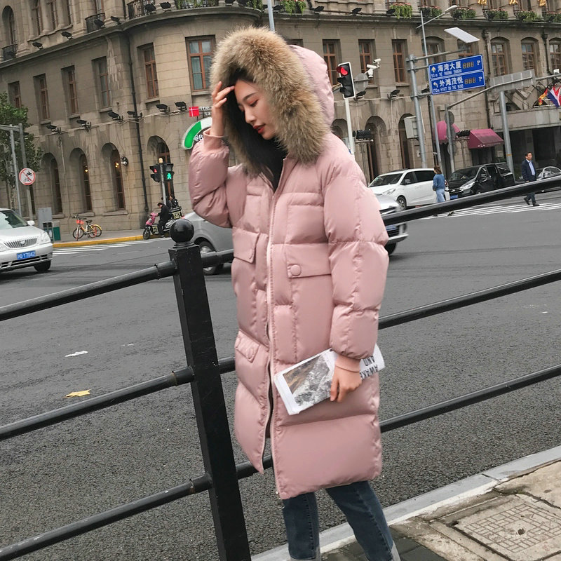 Main Push Winter New Style Korean-style Thick Hooded Cotton-padded Jacket Mid-length Over-the-Knee Loose-Fit Down Coat CHIC Cott