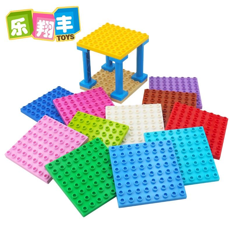 Большой размер Diy строительные блоки 8x8 точек Базовая пластина аксессуары совместимая с Duploed Базовая пластина игрушки для детей подарок для ...