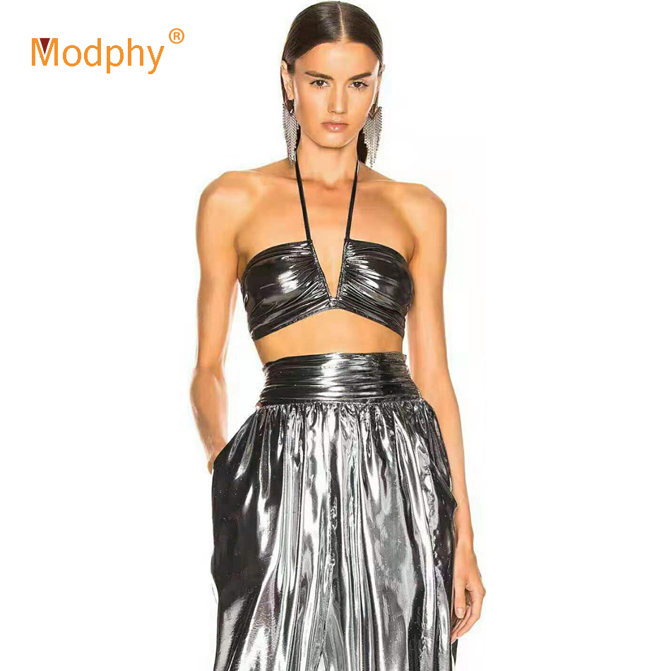 Modphy 2020 Summer New Women'S Suit Silver Two-Piece Sexy Halter Neck Strapless Sleeveless Top + Trousers Club Evening Party Set