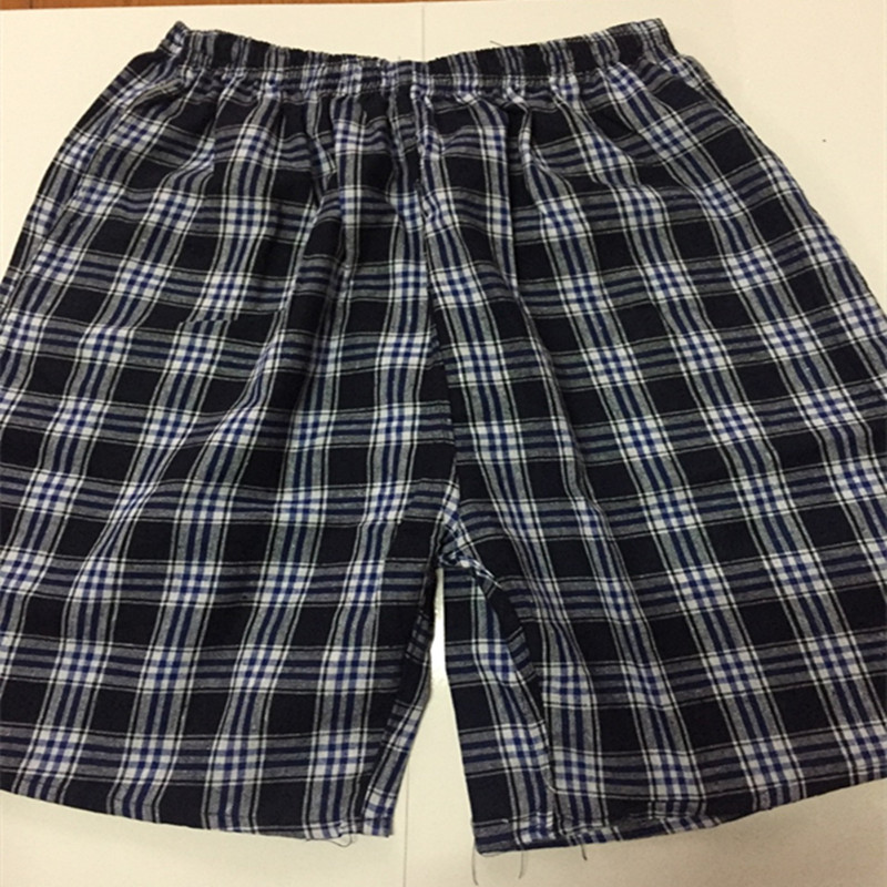 Men's Cotton Linen Beach Shorts Non-Fading Short Plaid Casual Pants Drifting Loose-Fit Booth Goods Greenish Blue Middle-aged