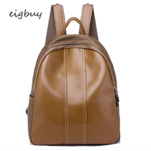 Small Backpack Casual School Bags Women Minimalist Pu Leather College Bag Teenage Girl Lady Large Multifunction