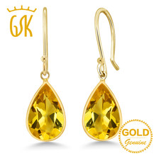 GemStoneKing 14K Yellow Gold Fine Jewelry Pear Shape 8x12mm Natural Citrine Gemstone Drop Earrings For Women(China)