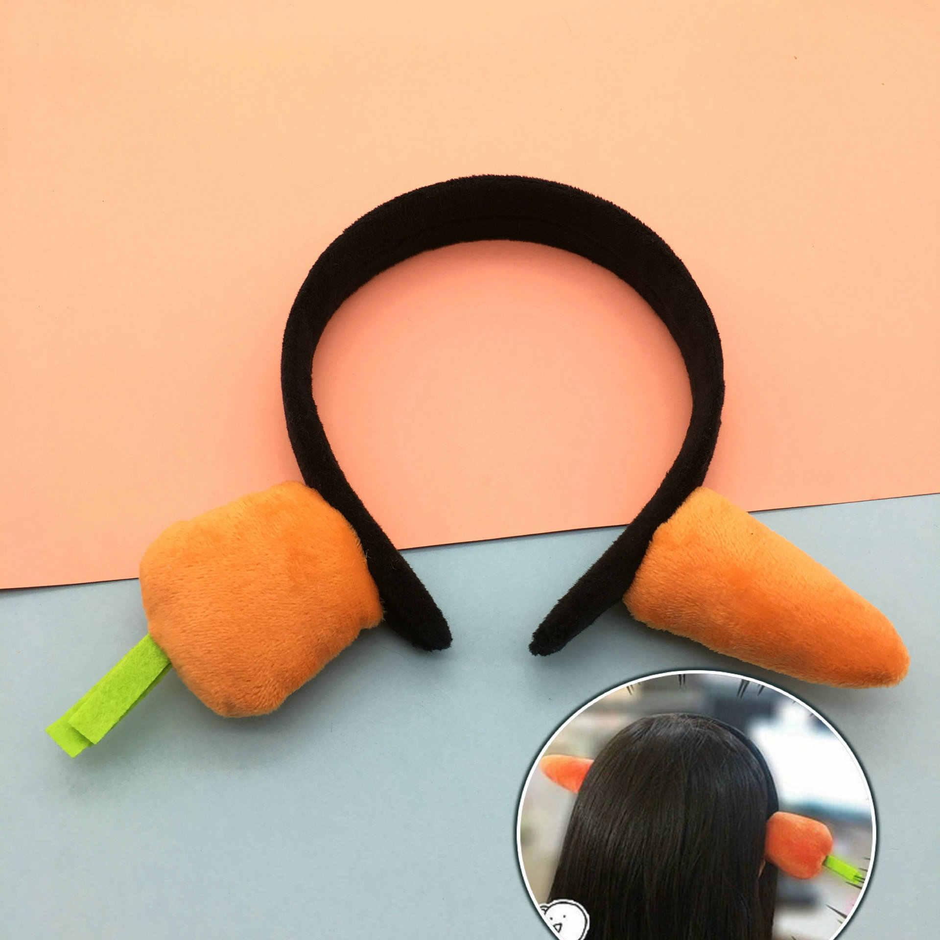 Nowa kreskówka marchewka hairband noszenie warzyw akcesoria do włosów stroik koreański kreatywna biżuteria factory outlet