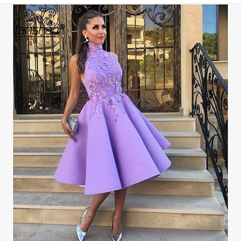 Lilac Homecoming Dresses High Neck Sleevless Satin Lace Party Dresses Mini Prom Dress Vestidos De Graduacion New Arrival
