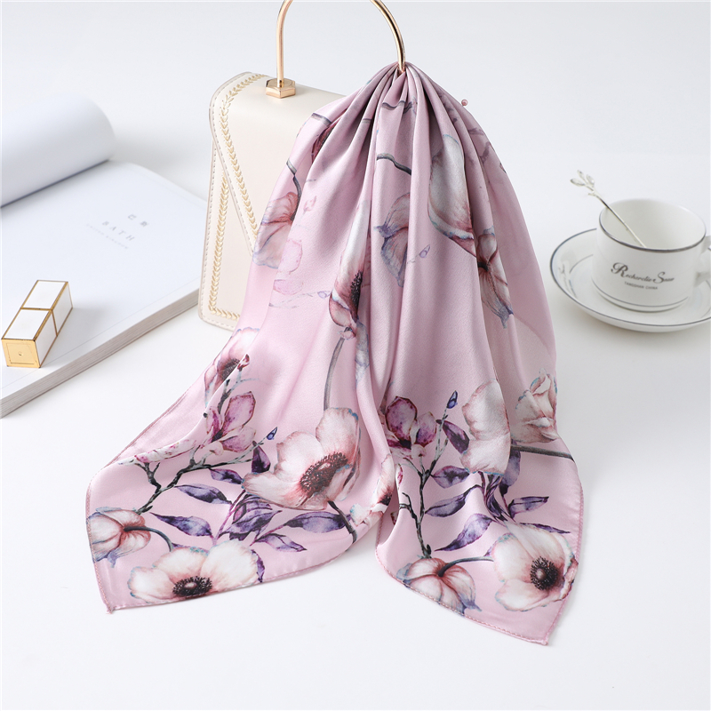 Small Silk Neck Hair Scarf Women Floral Print Foulard Square Scarves Shawls And Wraps Head Kerchief 2020 Fashion New