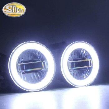 For Mitsubishi Pajero Montero Sport Pajero V87 V97 3.5inch LED Fog Lights DRL With Daytime Running Lights Angle Eyes Ring