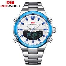 KAT-WACH 2020 Brand dual time zone Waterproof stainless steel watch