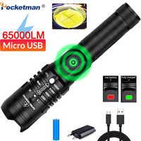 65000lumens lampe de poche LED Ultra lumineux xhp50.2 torche usb la plus puissante lanterne Zoomable 18650 meilleure lampe de chasse de pêche de Camping