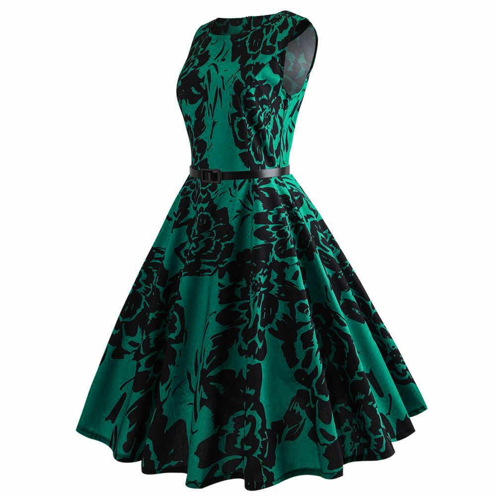 נשים בציר הדפסת שמלה ללא שרוולים גבוה מותן אלגנטי שמלה קיצית גבירותיי O-צוואר Sashes ערב מסיבת שמלות Vestidos # LR4