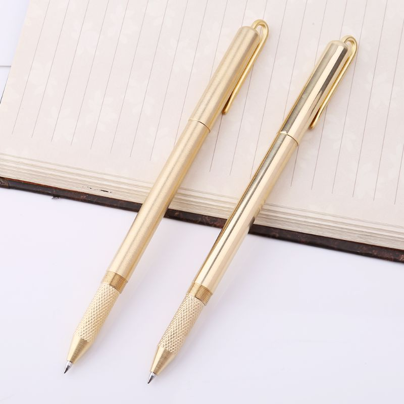 Handmade Retro Golden Brass Black Ink Ballpoint Pen With Pliers Stationery Office School Supplies