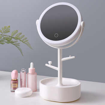 LF89901 desktop LED light Mirror cosmetic storage Box with makeup Mirror and Multifunctional jewelry Cosmetic Organizer Holder