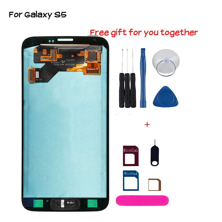 New touch screen for samsung galaxy S5 i9600 <font><b>G900</b></font> G900M G900F Lcd <font><b>display</b></font> replacement digitizer cell phone module No dead pixel image