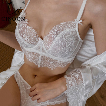 CINOON New Top Sexy Underwear Set Push-up Bra And Panty Sets 34 Cup Brassiere Gather Sexy Bra Embroidery Lace Lingerie Set