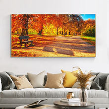 Autumn Park Red Leaves Wall Art Sunset Canvas Painting Landscape Tree Posters and Prints Cuadros Wall Picture for Living Room