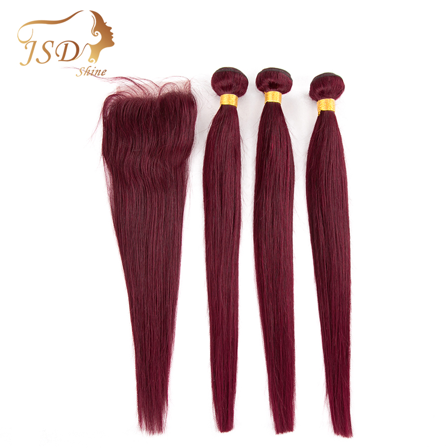 JSDshine Pre-Colored Brazilian Hair Straight 3 Bundles With Closure Red 99J Burgundy Human Hair Weave With Closure Non Remy