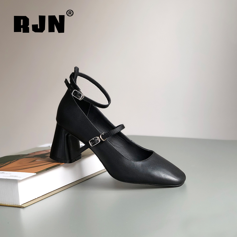 Promo RJN Buckle Straps Women Pumps High Quality Genuine Leather Solid Shallow Square Toe High Heel Shoes Fashion Pumps For Job RO53