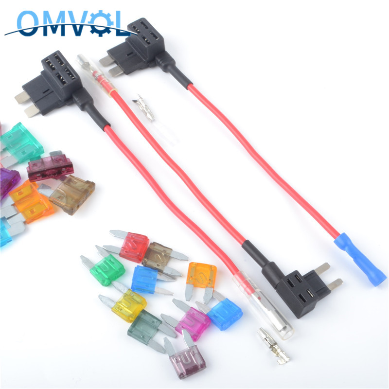 Micro Mini Car Add A Circuit Fuse Tap Plastic And Metal Dual-Slot Auto Fuse Adapter With 15A Blade Fuse
