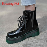 Krazing pot large size cow leather cross tied maiden platform round toe med heels shoes women keep warm lace up ankle boots L08
