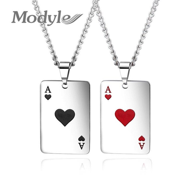 Modyle-collar de la suerte de Ace Of sades para hombre, colgante de póker de tono plateado para hombre, de acero inoxidable, para juego de cartas de Casino, fortuna